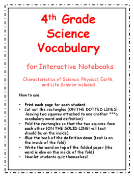 4th Grade Science Vocabulary Packet