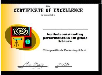4th Grade Science/Social Studies Certificate