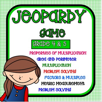 Math - JEOPARDY Game! Metric, Area, Perimeter, Multiplicat