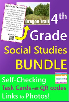 4th Grade Social Studies Task Cards with QR Codes BUNDLE