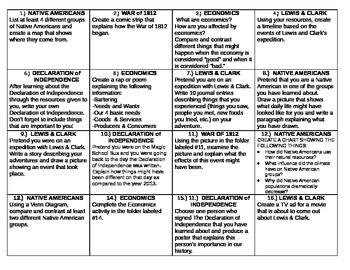 4th Grade Social Studies Choice Board