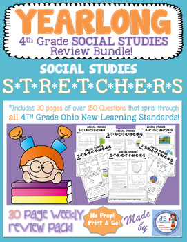 4th Grade Social Studies Stretchers:  A Yearlong Spiral Re