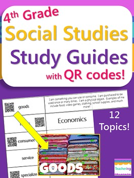 4th Grade Social Studies Study Guides with QR Codes