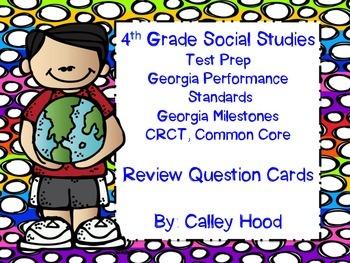 4th Grade Social Studies Test Prep Review Question Cards C