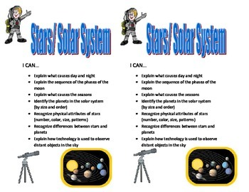 4th Grade Solar System Learning Targets I CAN Statements