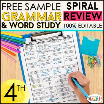 4th Grade Language Homework or 4th Grade Morning Work FREE