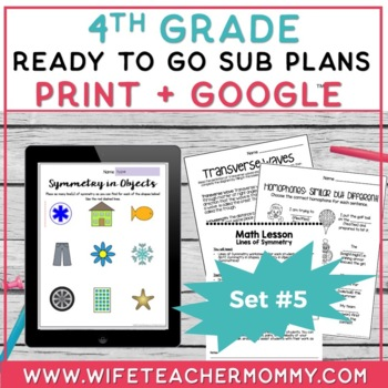 4th Grade Sub Plans Ready To Go for Substitute. DAY #5. No