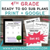 4th Grade Sub Plans Ready To Go for Substitute. No Prep. O
