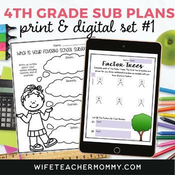 4th Grade Sub Plans Ready To Go for Substitute. No Prep. O