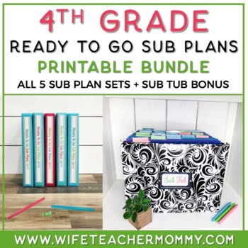 4th Grade Sub Plans Ready To Go for Substitute. No Prep. T