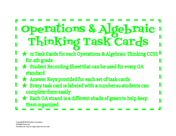 4th Grade Task Cards for OA Standards