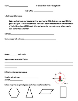 4th Grade Unit 8 Study Guide for Everyday Math 4