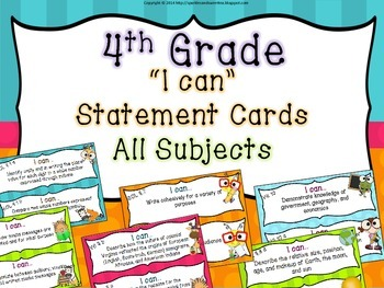 "4th Grade Virginia ""I Can"" cards- All Subjects!"