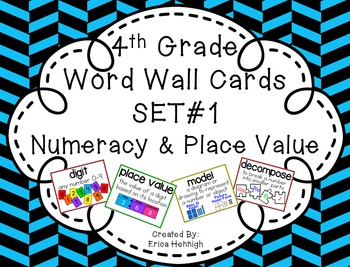4th Grade Vocabulary Word Wall Cards Set 1:  Numeracy and