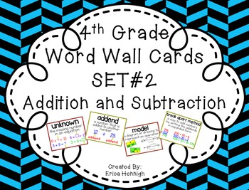 4th Grade Vocabulary Word Wall Cards Set 2:  Addition & Su