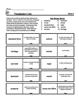 4th Grade Weekly Vocabulary - Week 5