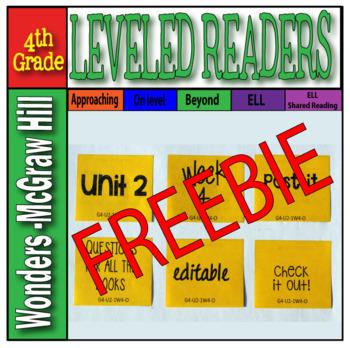 McGraw-Hill 4th Grade Wonders Post-its Unit 2, week 4