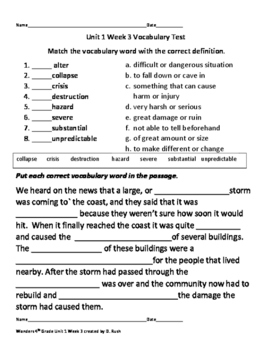 4th Grade Wonders Reading Vocabulary Test Unit 1 Week 3