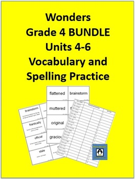 4th Grade Wonders - Units 4-6 BUNDLE Spelling and Vocabula