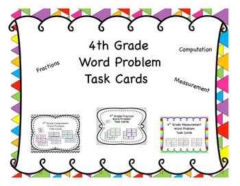 4th Grade Math Word Problem Task Cards 46 Set Mega {Growin