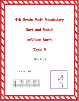 4th Grade enVision Math Topic 9 Vocabulary Sort and Match