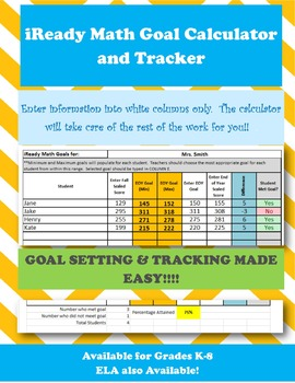 4th Grade iReady Math Goal Setting Calculator