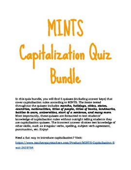 4th grade capitalization quiz