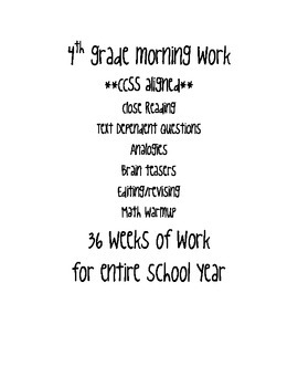 4th grade CCSS Daily Morning Work (Reading, Math and more)