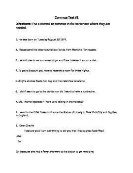 4th grade Comma Test