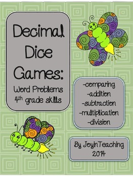 4th grade  Decimal Word Problems-comparing/ place value/ a