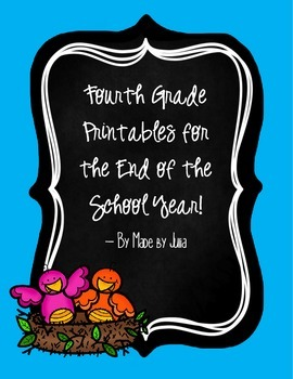 4th grade End of Year Printables