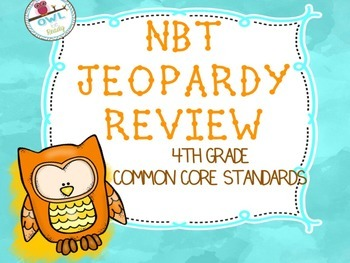 4th grade MATH CCSS NBT JEOPARDY like Printable Game