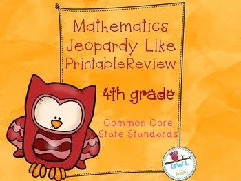 4th grade Math CCSS Jeopardy like Printable Game