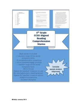 4th Grade CCSS ELA- Reading Comprehension Story Packet and
