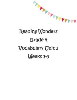 4th grade Reading Wonders Unit 2 Weeks 1-5 Vocabulary Word