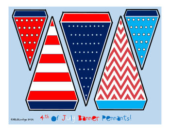 Red White and Blue Banner Pennants