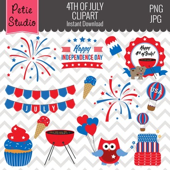4th of July Clipart // Independence Day Clipart // America