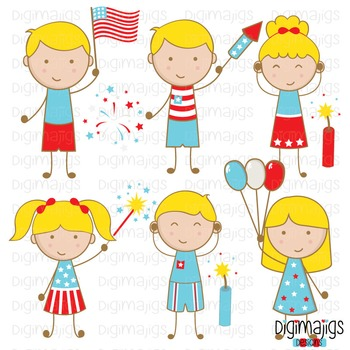 4th of July Clipart Set, Independence Day Clipart, Firewor