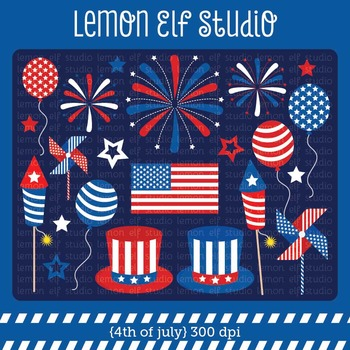 4th of July-Digital Clipart (LES.CL41)