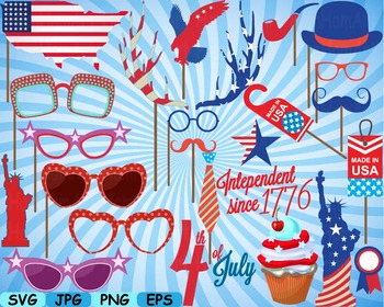4th of July Party Photo Booth Prop props svg clip art Déco