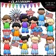 4th of July Patriotic Clip Art & B&W Bundle (4 Sets)