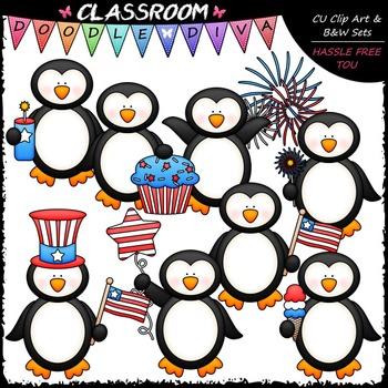 4th of July Penguins Clip Art - Patriotic Penguins Clip Ar