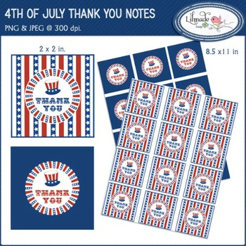 4th of July digital stickers, thank you cards, printable p