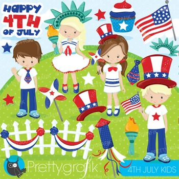 4th of July kids clipart commercial use, graphics, digital