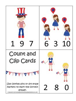 4th of July themed Count and Clip preschool math cards.  D