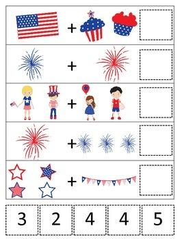 4th of July themed Math Addition preschool printable math