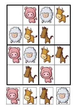 4x4 Sudoku Animal Pictures
