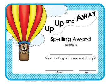 36 Unique Weekly Spelling Awards - SIZE 4x6 - Several opti