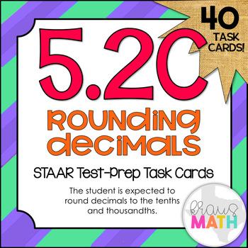 5.2C: Rounding Decimals STAAR Test-Prep Task Cards (5.NBT.4)