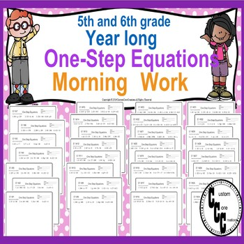 5-6 Grade 1-Step Equations Morning Work (Year Long)